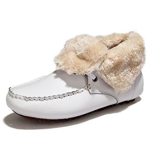 Binying Womens Lace Up Cuir Fourrure Bottes De Neige Blanc