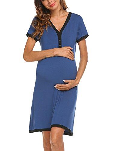 da Scollo Donna Abito S Unibelle Maniche Abito V notte Maternità XXL Blu Camicia Corte Elegante Maternità a di a da Vestito Premaman 7q0X7