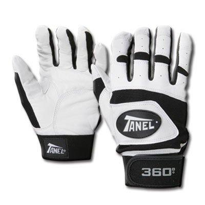 Tanel 360 Smooth Grain野球/ソフトボールバッティング手袋 B00W7WP5IQ Small|ホワイト/ブラック ホワイト/ブラック Small
