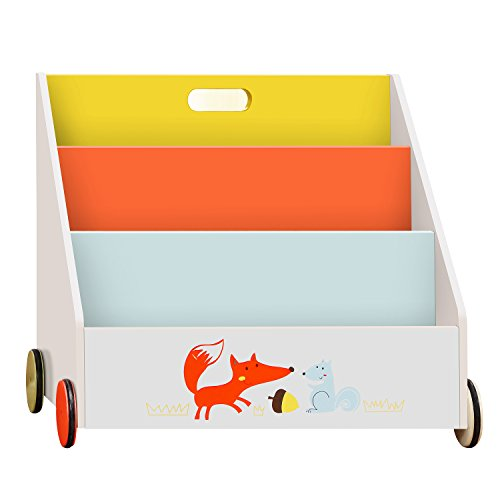 [ Hot on Sale ] Labebe Kid Bookshelf with Wheels, Orange Fox Wood Bookshelf for Kids 1 Year Up, Baby Bookshelf/Child Bookshelf/Toddler Bookshelf Kid Book Display/Bookshelf Kid Wooden/Book Display