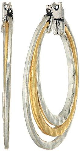 2 Tone Hoop Earrings - 8