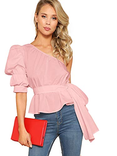 (Romwe Women's One Shoulder Short Puff Sleeve Self Belted Solid Blouse Top Pink Medium)