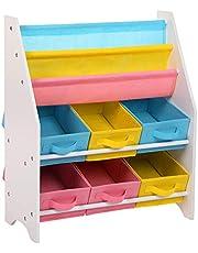 SONGMICS Hyllenhet för leksaks- och bokförvaring med tygbehållare 3-nivås bokhylla 63 x 26,5 x 74 cm (B x D x H) GKR36WT