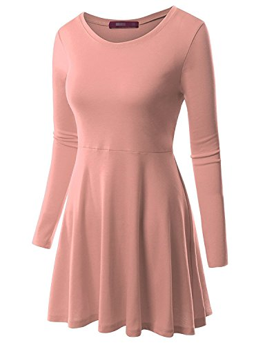 MRstriver Round Neck Flared Skater Tunic Dress For Women With Plus Size Cwdtd06_babypinkMedium