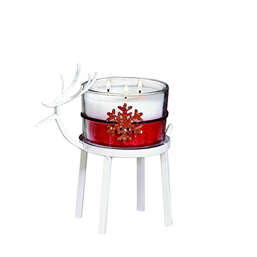 """CC Home Furnishings Set of 2 White Christmas Reindeer Pillar Candle Holder 8"""" - Small by CC Home Furnishings"""