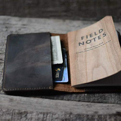 Distressed Leather Checkbook Journal Cover for Field Notes Moleskine Cahier Notebook Pocket size 3.5
