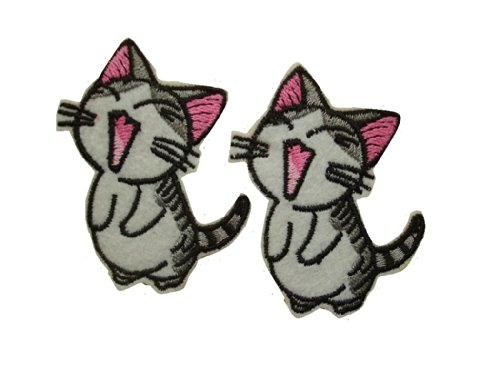 Kitty Iron - 2 small pieces LAUGHING CAT Iron On Patch Fabric Applique Yawning Kitty Motif Decal 2.5 x 1.9 inches (6.5 x 4.5 cm)
