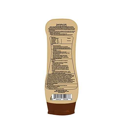 Australian Gold Sunscreen Lotion with Kona Coffee Infused Bronzer SPF 50, 8 Ounce   Broad Spectrum   Water Resistant