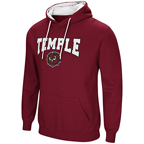 Colosseum NCAA Men's-Cold Streak-Hoody Pullover Sweatshirt with Tackle Twill-Temple Owls-Cherry-XL