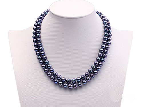 JYX Double-row 8mm Black Cultured Freshwater Pearl Necklace 18'