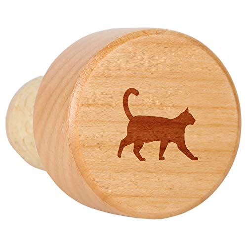 Cat Maple Wood Wine Bottle Stopper With Cork - Laser Engraved Decorative Wine Bottle Stopper - Reusable Cork Stopper Gift