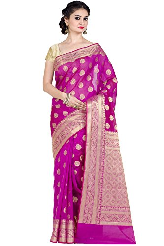 Chandrakala Women's Magenta Cotton Silk Blend Banarasi Saree,Free Size(9462)