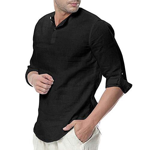 WULFUL Mens Cotton Linen Henley Shirt Loose Fit Long Sleeve Casual T-Shirt Beach Yoga Tops Black