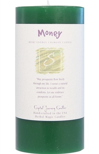6'' x 3'' Crystal Journey Herbal Magic Reiki Charged Pillar Candle, Money by Crystal Journey