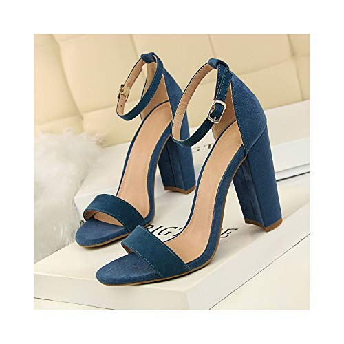 Perceive DA High Heels Sexy Women Pumps Ladies Shoes Thick Block Heels Party Wedding Shoes Summer Sandals Stiletto,Blue,5.5 (Tan Heel Sexy 3')