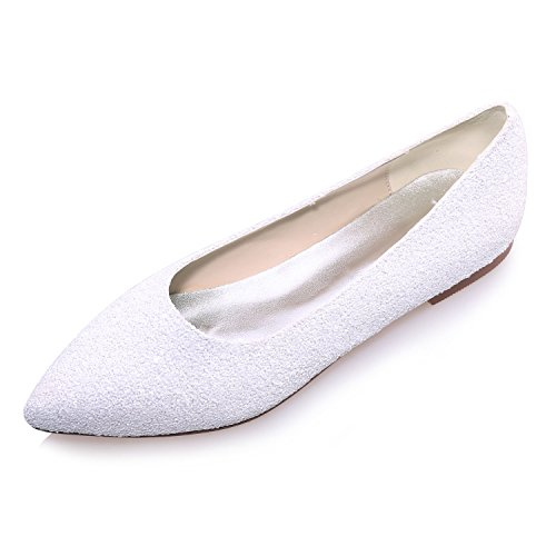 Fashionmore Women's Sequined Ballet Flat Shoes White 10.5 US