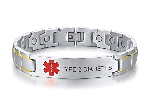 Type 2 Diabetes Black Ion Plated Stainless Steel Magnetic Therapy Health Emergancy Medical Alert ID Bracelets for Men Dad,8.6""