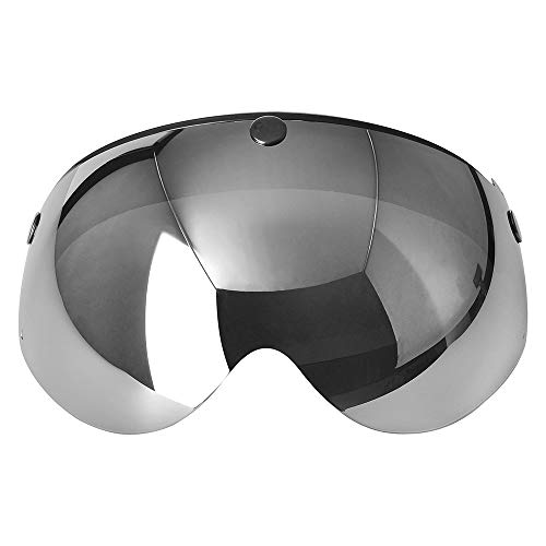 Pilot-Style Universal 3 Snap-Button Visor for Open Face Motorcycle Helmet Wind Shield Flip Up Down by MotorFansClub (Mirrored)
