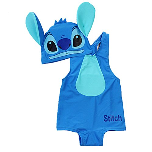 KMFEIL Cartoon Blue Stitch 2 Piece Onesie Baby Boy Swimwear With Hat