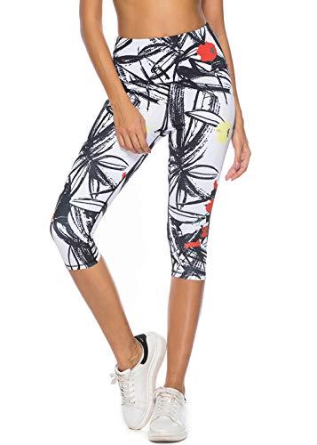 Capri Print - Mint Lilac Women's Printed Leggings Workout Capri Yoga Pants Large