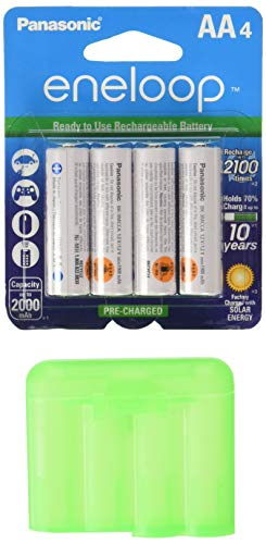 Eneloop QS-RXXW-NU9Y Newest Version 4th Generation AA NiMH Pre-Charged 2100 Times Rechargeable Battery with Holder Pack of 4 ()