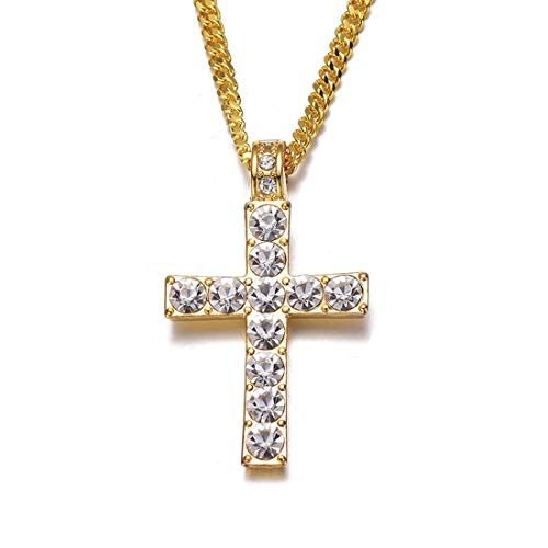 Cross Necklace for Men Crystal Pendant Gold Chain Hip Hop Bling Jewelry