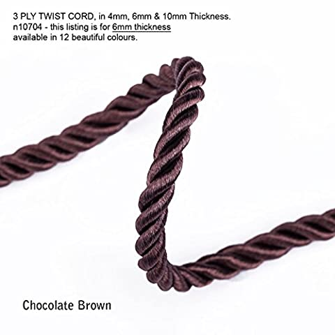 Neotrim 6mm Barley Twist Rope Cord Trimming, Braided, For Piping or Edging, Home Décor. High Sheen Viscose, Prominent 3 Ply Twist Look, with 12 Stunning Colours to Choose From - ChocolateBrown - 4 - Rayon Twist Cord