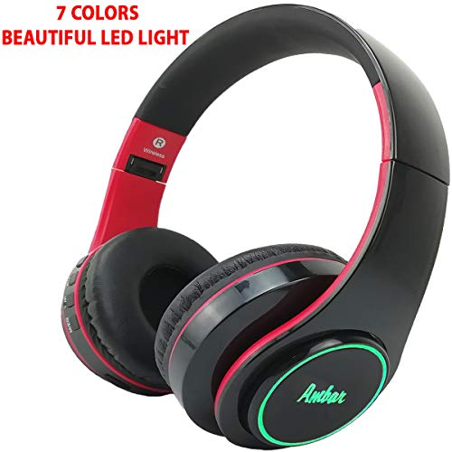 - Bluetooth Headphones Over Ear Hi-Fi Stereo with Mic - FM Radio/TF Card/Aux-in/Multi Color LED Light, Wireless Noise Cancelling Headset, High Bass, Long Battery Life, for Cell Phones/TV/Laptop (Red)