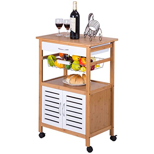 Giantex Kitchen Cart Rolling Trolley Cart Island Bamboo Top with Storage Drawer Basket Cabinet Truck Kitchen