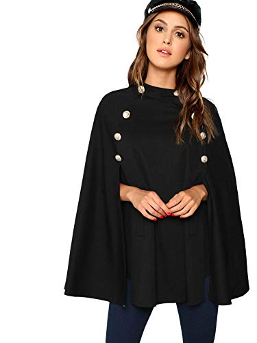 MAKEMECHIC Women's Double Button Cloak Sleeve Elegant Cape Mock Poncho Classy Coat Black-1 L