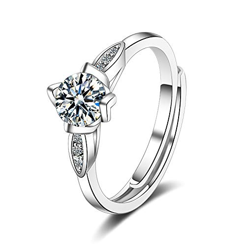 - Madeone ✦18K White Gold Plating Excellent Cut Cubic Zirconia CZ Stone Four Leaf Single Diamond Wedding Engagement Adjustable Rings for Women with Box Packing