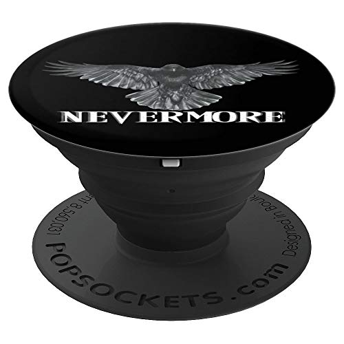 Raven Nevermore Poetry Halloween Black Phone Stand - PopSockets Grip and Stand for Phones and Tablets -