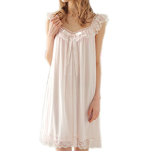 Singingqueen Women's Sleepwear Lace Nightdress Victorian Vintage Nightgown Loungewear Pajamas (Pink, Large)