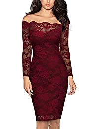Womens Vintage Off Shoulder Flare Lace Slim Cocktail Pencil Dress