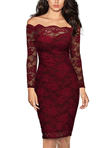 Miusol Women's Vintage Off Shoulder Flare Lace Slim Cocktail Pencil Dress,A-wine Red,X-Large