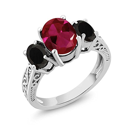 (Gem Stone King 3.17 Ct Oval Red Created Ruby Black Onyx 925 Sterling Silver 3-Stone Ring (Size 6))