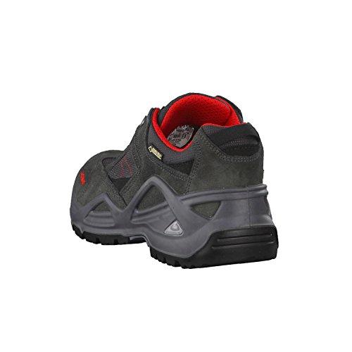 LOWA Hombres SIRKOS GTX 310652-9034 gris / rojo, Gr. 41-44,5, cuero impermeable bota de senderismo grau/kombi