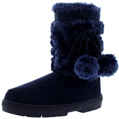 Navy Winter Boots (Womens Pom Pom Fully Fur Lined Waterproof Winter Snow Boots, Size 8, Navy)