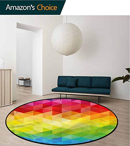 (RUGSMAT Colorful Anti-Skid Area Rug,Triangle Daimond Baby Room Decor Round Carpets Round-51 )