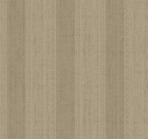 Décor Direct YWFL6564 Sweetwater Double Roll of Stripes Decorative Hanging Wallpaper, Brown