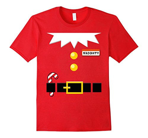 Naughty Couples Costumes (Mens Couples Naughty Christmas Elf Funny Costume T-Shirt XL Red)