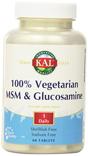 Kal 500 Mg 60 Tabs - KAL 100% Vegetarian MSM and Glucosamine Tablet, 500 mg, 60 Count