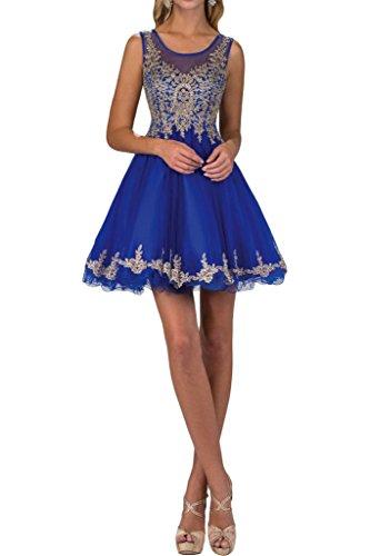 Partykleid Mini Damen Promkleid Festkleid Modern Ivydressing Royalblau Spitze Abendkleid Applikation Rundkragen 4YIddTq