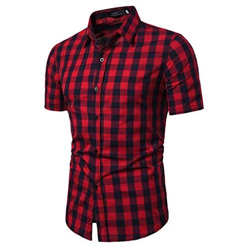 OVERDOES Men's Lattice Splicing Pattern Casual Fashion Lapel Short Sleeve Shirt