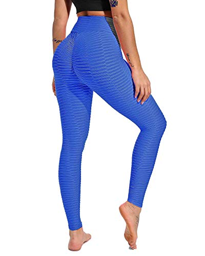 FITTOO Women's Honeycomb Ruched Butt Lifting High Waist Yoga Pants Chic Sports Stretchy Leggings Peacock Net Blue(S) ()