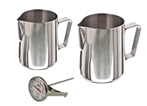 12 oz and 20 oz Stainless Steel Pitcher with Thermometer Set from W&P Trading Corp
