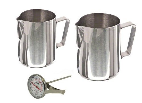 Stainless Steel Frothing Milk Steaming Pitcher 12 oz and 20 oz with Thermometer Set by W&P Trading Corp