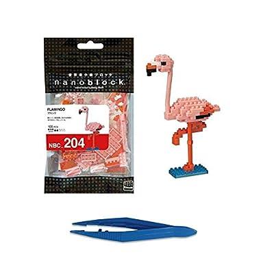 Nano Block Flamingo + Gift Tweezers Plastic Cube Building Blocks (Smartoys): Toys & Games