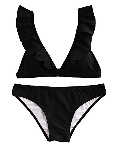 Tutorutor Womens Ruffle Bikini Triangle Padded Bathing Suits Cute Two Piece Swimsuits