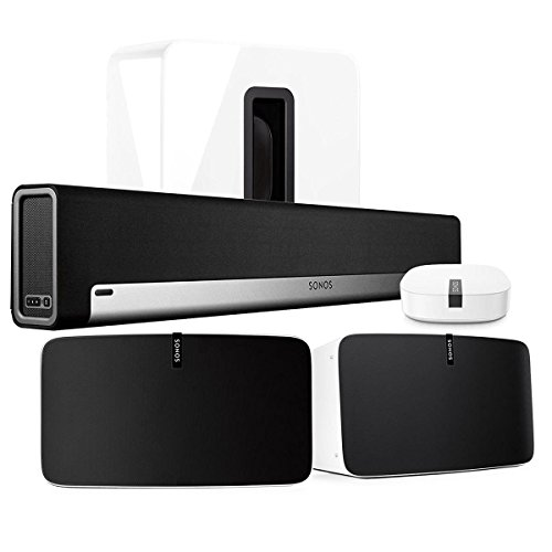 Sonos Multi-Room Digital Music System Bundle (PLAYBAR, (2) PLAY:5 Speakers – White, Wireless Subwoofer – White, and BOOST)